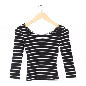 Divided Black And White Striped Low Back Cropped T-Shirt