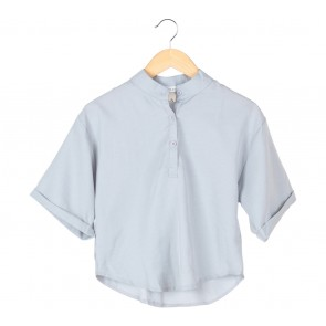Tinkerlust Grey Mandarin Collar Blouse