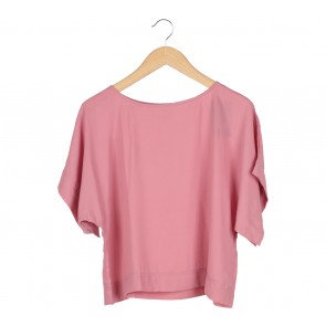 Tinkerlust Pink Boxy Crew Neck Blouse