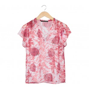 Zara Red And White Floral Blouse