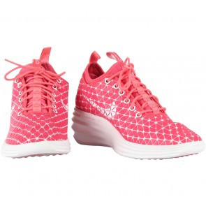 "Nike White Laser Lunar Elite Sky Hi Qs Fw ""Tokyo"" Crimson Wedge Sneakers"