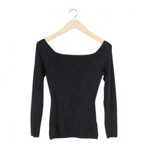 H&M Black Boat Neck Blouse