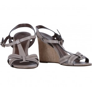 Charles and Keith Grey T-Strap Sandals Wedges