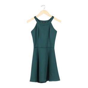 Cloth Inc Dark Green Cut Out Mini Dress