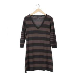 H&M Brown Striped Mini Dress