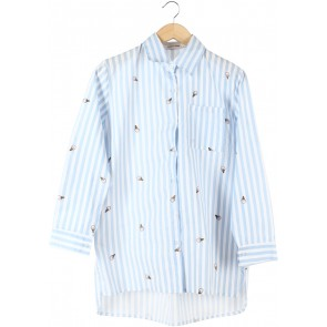 This is April Light Blue And White Striped Shirt