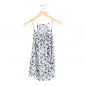 UNIQLO Dark Blue And White Floral Sleeveless