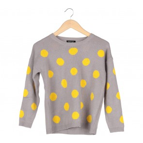 Topshop Grey And Yellow Polka Dot Sweater