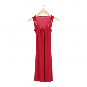 Arithalia Red Sequined Collar Sleeveless Mini Dress