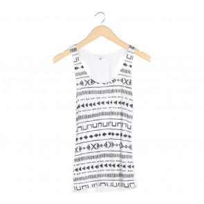 Bershka White Aztec Sleeveless
