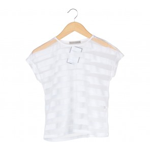 Atmosphere White Striped See Through T-Shirt