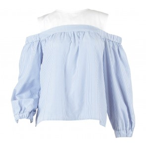 Posh The Label Blue And White Striped Off Shoulder Blouse