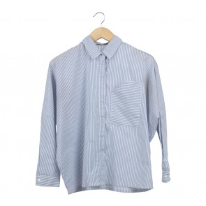 Cotton Ink Blue And White Striped Shirt