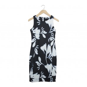 H&M Black And White Midi Dress