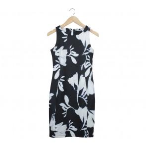H&M Black And White Midi Dress
