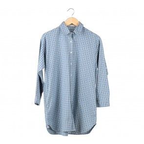 Soep Shop Blue Plaid Over Size Shirt