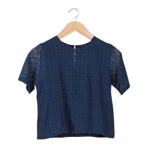 Shop At Velvet Dark Blue Floral Lace Blouse
