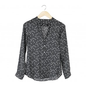 Black And Off White Patterned Blouse