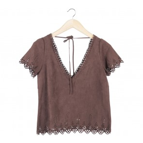Brown Perforated Blouse