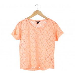 H&M Orange Lace Blouse