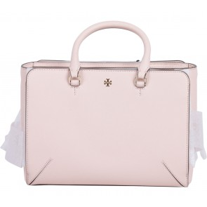 Tory Burch Pink Robinson Small Zip Leather Satchel