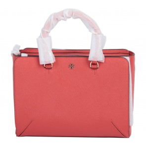 Tory Burch Red Robinson Small Zip Leather Satchel