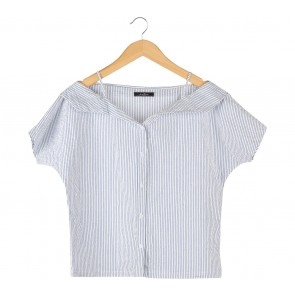 Le Bijou Blue And White Striped Bardot Blouse