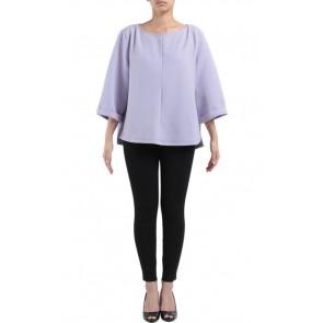 Purple Elbow-Length Sleeve Blouse