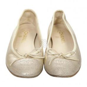 Chanel Gold Flats