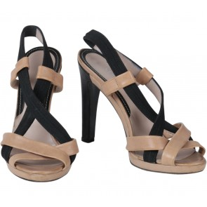 Max & Co Brown And Black Cross Heels