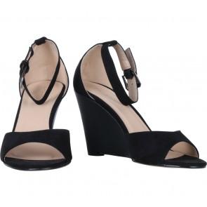 Zalora Black Open Toe Wedges