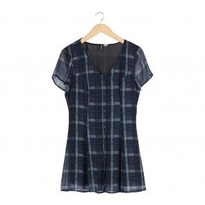 Divided Dark Blue Plaid Mini Dress
