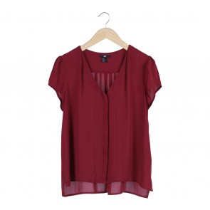 H&M Red V Neck Blouse