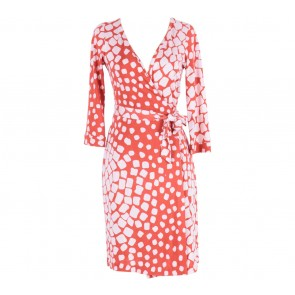 Diane Von Furstenberg  Red And White Dotted Wrap Midi Dress