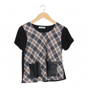 Cotton Ink Multi Colour Plaid Blouse