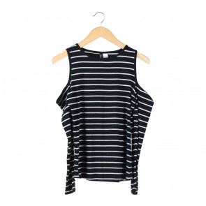 Divided Black And White Striped Off Shoulder T-Shirt