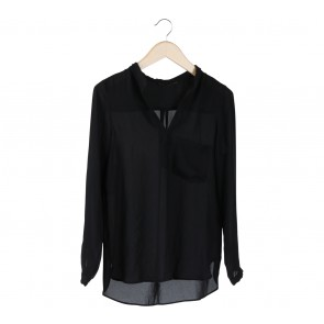 Zara Black Chiffon Pocket Shirt