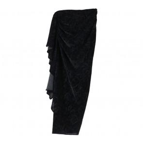 Black Floral Asymmetric Ruffle  Skirt