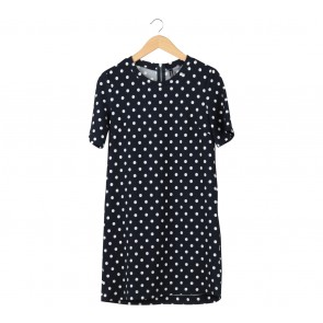 Divided Dark Blue Polka Dot Midi Dress