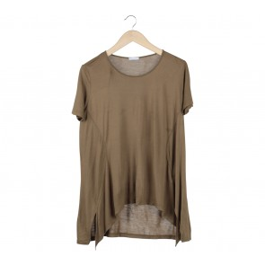 Zara Dark Green Asymmetric T-Shirt
