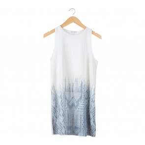 Zara White And Dark Blue Textured Sleeveless Mini Dress