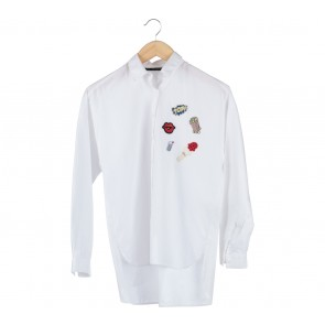 Zara White Patches Shirt