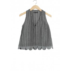 Monday To Sunday Dark Grey Scallop Sleeveless