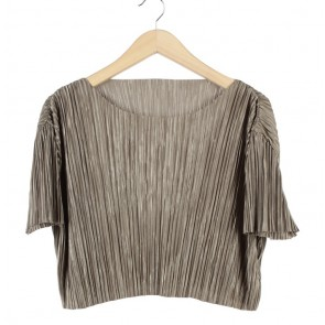 Pomelo. Brown Pleated Blouse