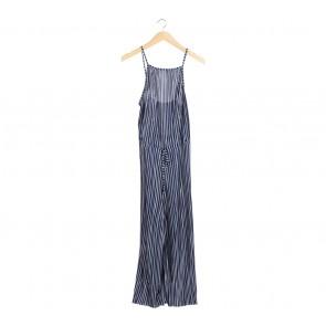 Zara Dark Blue And White Striped Jumpsuit