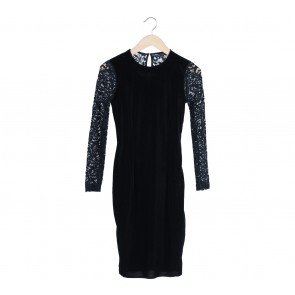 Zara Black Lace Velvet Mini Dress