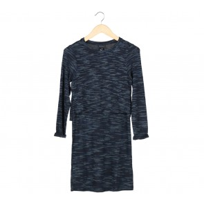 Topshop Blue Striped Layered Long Sleeve Midi Dress