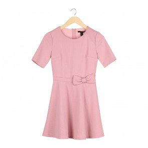 Forever 21 Pink Bow Detail Textured Midi Dress