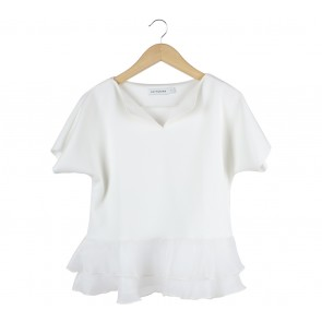 Cotton Ink Off White Peplum Blouse