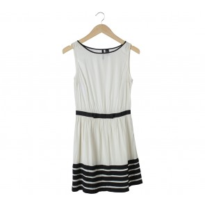 Mango Off White And Black Mini Dress